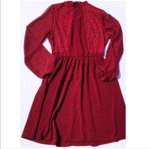 Maroon Long-sleeve Lacy Dress